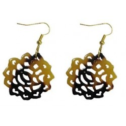 Brown Flower Shaped Faux Turtle Shell Earring