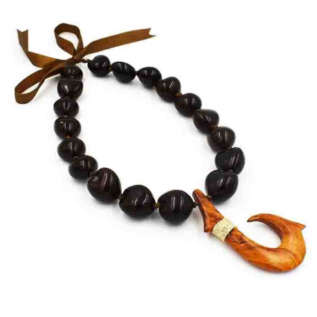 Brown Kukui Nut With Wooden Fish Hook Pendant Lei / Necklace