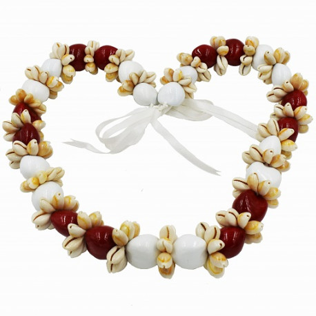 Cowrie Shell With White/Red Kukui Nut Lei/Necklace