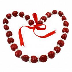 White Mongo Shell & Red Kukui Nut Lei / Necklace