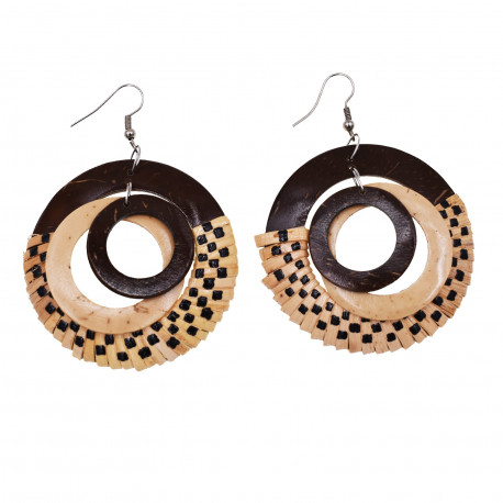 Hand Made Round Coconut With Rattan Earrings