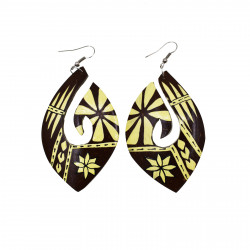 Hand Carved Fish Hook Coconut Earrings
