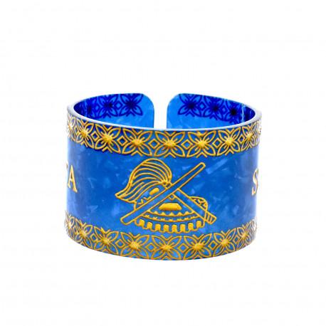 Faux Turtle Shell Talofa Samoa Bracelet ( Blue )