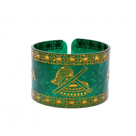 Faux Turtle Shell Talofa Samoa Bracelet ( Green )