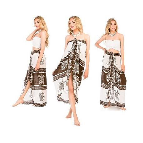 Turtle Pattern Sarong Dress-Brown