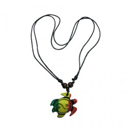 Resin Rasta Turtle Pendant Necklace