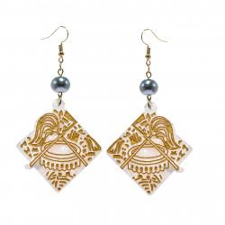 Turtle Shell /Samoan Seal Dangle Earrings