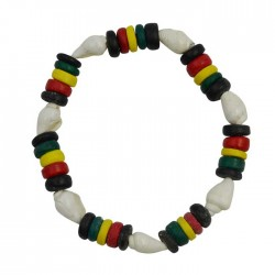 White Nasa Shell With Rasta Coconut Bracelet