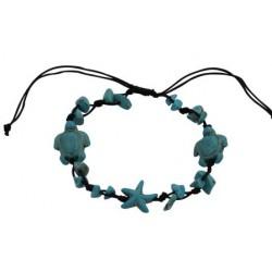 Turtle & Starfish Pendant Bracelet