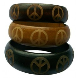 Wood Peace Sign Bangle