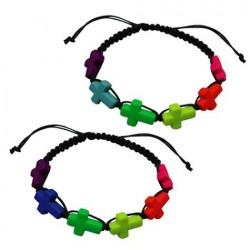 Neon Cross Pendant Bracelet
