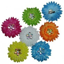 Flower With Crystal Hair Clips