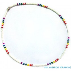 Rainbow White Clam Shell Necklace 2-3MM