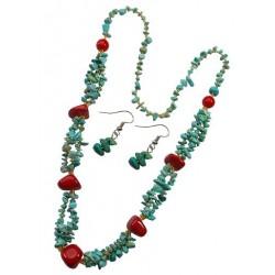 Turquoise Stone necklace & Earring Set