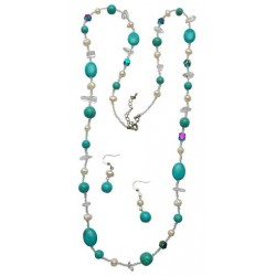 Turquoise Stone With Pearl Necklace Set