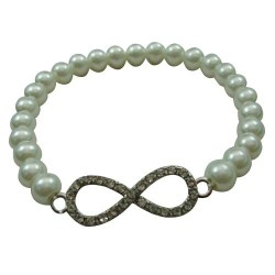 Infinity with Faux Pearl Bracelet
