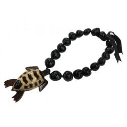 Black Kukuinut With Wood Turtle Pendant Necklace
