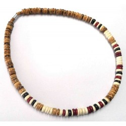 Beige/Black/Red/Brown Coco Bead Necklace