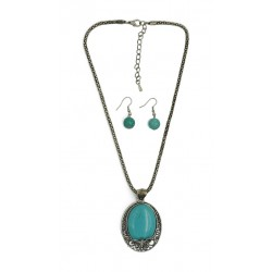 Turquoise Stone Necklace and Earrings Set