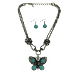 Turquoise Stone Butterfly Necklace & Earrings Set