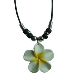 White Fimo Flower Necklace