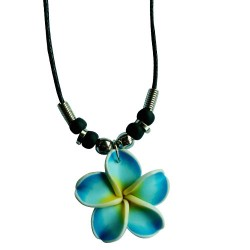 Blue Fimo Flower Necklace
