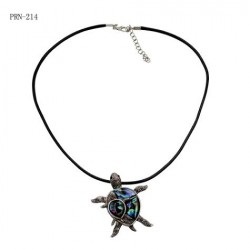 Double Turtle Paua Shell Pendant Necklace.
