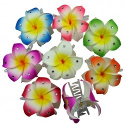 Fimo Flower Clips with Crystals