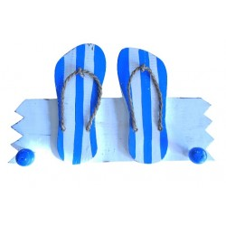 Wooden hanger with double sandal (blue)