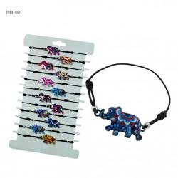 Elephant Pendant With Wax Cord Bracelet