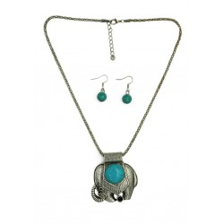 Elephant (Turquoise Pendant) Necklace & Earring Set