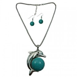 Dolphin (Turquoise)Pendant Necklace & Earring Set