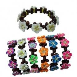 Fimo Flower Wooden Bracelet
