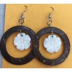 Coconut With Flower Earrings