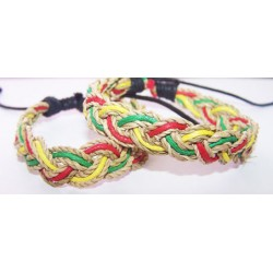 Abaca/Wax Cord Bracelet with Rasta Colors