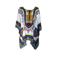 Dashiki Print Poncho Dress (White)