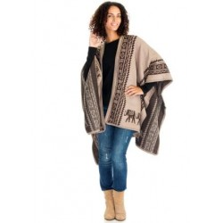 Elephant Motive Blanket Poncho