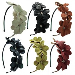 Leather Flower Head Band