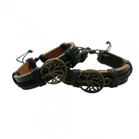 Leather Bracelet With Tree Pendant