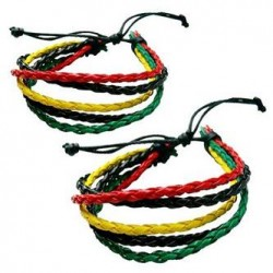 Rasta Leather Twist Bracelet