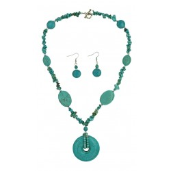 Turquoise Stone Necklace & Earring Set