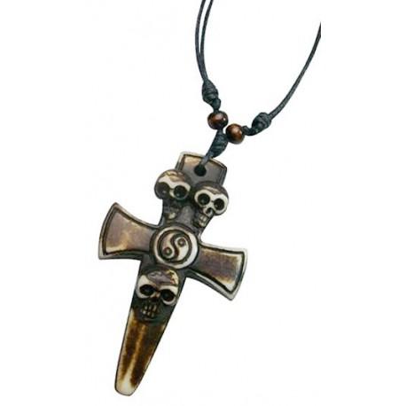 Resin Skull Cross Pendant Necklace