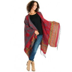 Flower Motive Winter Poncho (Grey/Red)