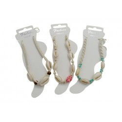 Cowry Shell With Beige Cord Anklet