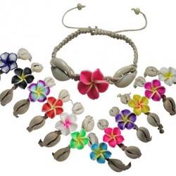 Fimo Flower & Cowrie Shell Bracelet