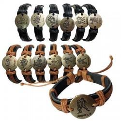Gold Zodiac Leather Bracelet - Round