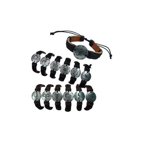 Round Silver Zodiac Leather Bracelet