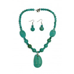 Turquoise Stone Necklace & Earrings Set