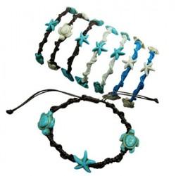 Turtle With Starfish & Dolphin Pendant Bracelet