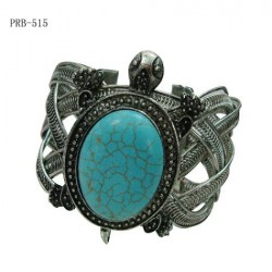 Metal Turtle With Turquoise Stone Shell Bangle